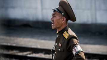 DPRK Trainride - soldier